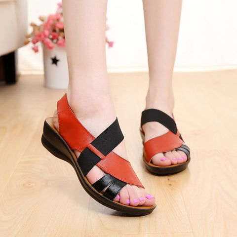 Leather Two Color Contrast Crisscross Sandals