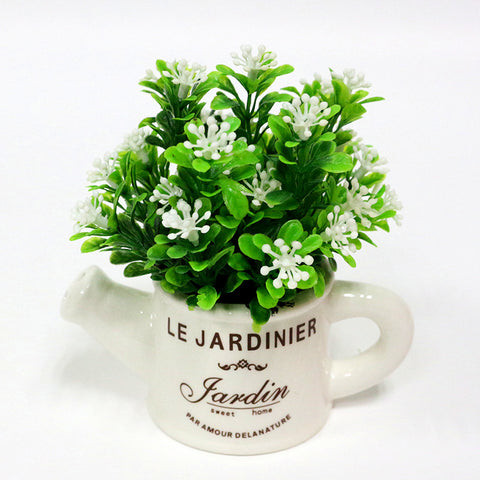Artificial Plastic Plant with Ceramic Vase