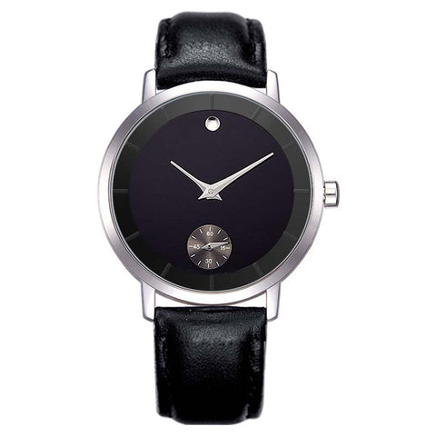 Minimalist Dial Waterproof Leather Wristwatch-men-black-wanahavit