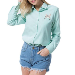 Cat Embroidery Long Sleeve Blouse-women-wanahavit-Green-S-wanahavit