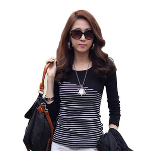 Oblique Striped Long Sleeve Shirt-women-wanahavit-Black-L-wanahavit