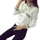 Elegant Turn Down Collar Long Sleeve Shirt