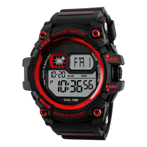 Shock Resistant LED Waterproof Wristwatch-men-Red-wanahavit