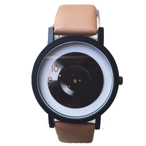 Retro Minimalist Quartz Watch with PU Leather Strap-unisex-Brown-wanahavit