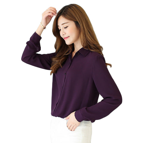 Solid Color Lapel Casual Loose Long Sleeve Shirt