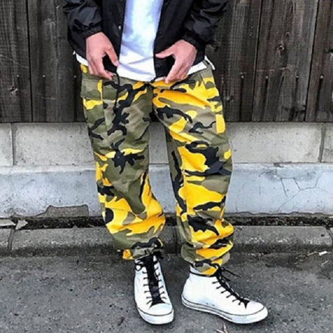 Camouflage Cargo Tactical Baggy Sweatpant-men fashion & fitness-wanahavit-yellow-S-wanahavit