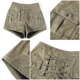 Elegant High Waist Lace Up Suede Shorts-women-wanahavit-Army Green-S-wanahavit