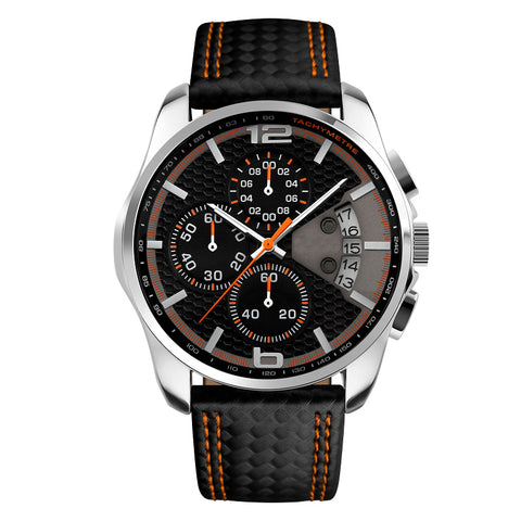 Luxury Leather Strap Waterproof Wristhwatch-men-Orange-wanahavit