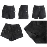 Elegant High Waist Lace Up Suede Shorts-women-wanahavit-Black-S-wanahavit