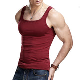 Bodybuilder Square Collar Stringer Vest-men fashion & fitness-wanahavit-Red-M-wanahavit