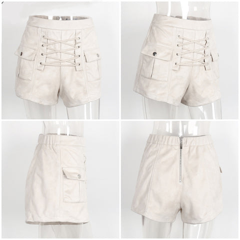Elegant High Waist Lace Up Suede Shorts-women-wanahavit-Nude-S-wanahavit