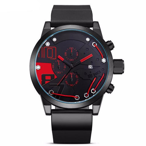 Racing Car Inspired Waterproof Wristwatch v2-men-wanahavit-red-wanahavit