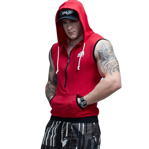 Fit Sleeveless Tapered Zip Crossfit Tank Top Hoodie-men fitness-wanahavit-Red-M-wanahavit