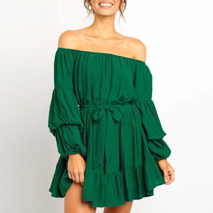 Autumn Off Shoulder Long Puff Sleeve Belted Solid Sash Ruffle Mini Dress