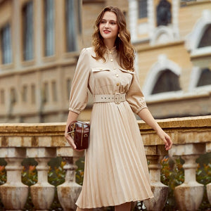 A-line Holiday Ruffled Three Quarter Sleeve Pleated Elegant Office Dress