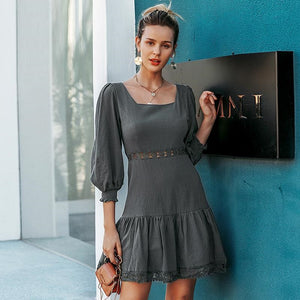 A-line Hollow Out Elegant Ruffled Lantern Sleeve Autumn Casual Short Party Dress