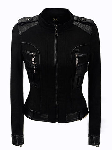 Patchwork Gothic Faux Leather Jacket-women-Black-S-wanahavit