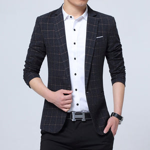 Lattice Plaid and Striped Business Slim Fit Blazers-men-wanahavit-Black-M-wanahavit