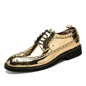 Luxury Leather Gold Business Dress Oxford Brogue Shoes-men-wanahavit-Gold-6.5-wanahavit