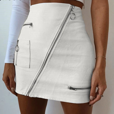 Summer Style Skirts Diagonal A Line Zipper Skirt-women-wanahavit-white-L-wanahavit