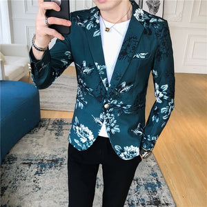 Fancy Floral Vintage Printed Blazers-men-wanahavit-green-XXXL-wanahavit