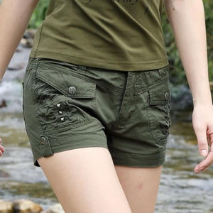 Mid Waist Military Camouflage Shorts-women-wanahavit-Army Green-31-wanahavit