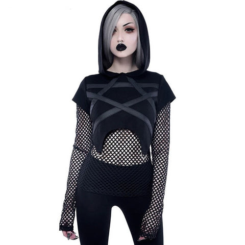 Goth Dark Black Mesh Patchwork Navel Rivet Shirt-women-wanahavit-black-M-wanahavit