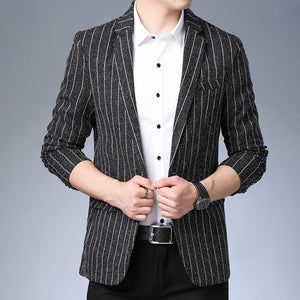 Striped Single Buttoned Businessmen Blazers-men-wanahavit-Black-M-wanahavit
