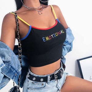 Emotional Sexy Gothic Contrast Color Crop Top Tank-women-wanahavit-black-L-wanahavit