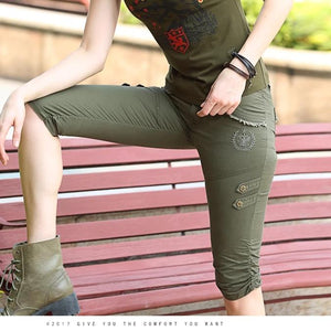 Baggy Multi Pocket Military Zipper Cargo Tactical Short-women-wanahavit-Army Green-26-wanahavit