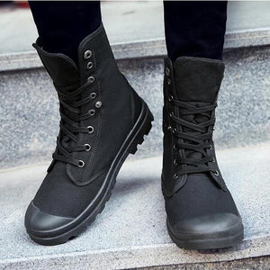 High Top Outdoor Canvas Non Slip Military Boots-men-wanahavit-all black-10-wanahavit
