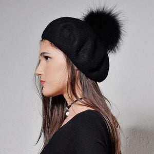100% Wool Raccoon Fur With Detachable Pom Pom Beret-women-wanahavit-Black-wanahavit