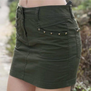 Military Army Green Camouflage Print Summer Skirts-women-wanahavit-ARMY GREEN-26-wanahavit