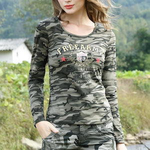Army Academy Printed Slim Cotton Long Sleeve-women-wanahavit-camo-L-wanahavit