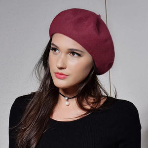 100% Wool Winter Fashion Cap Beret-women-wanahavit-Red-wanahavit