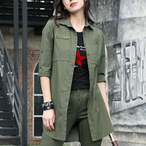 Spring Summer Blouse Army Green Casual Long Sleeve-women-wanahavit-Army Green-XXL-wanahavit
