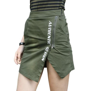 Sexy Summer Military Army Asymmetrical Skirt With Pocket-women-wanahavit-army green-L-wanahavit