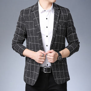 Plaid & Stripes Korean Designer Blazers-men-wanahavit-Black-L-wanahavit