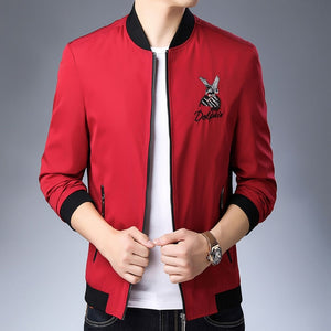 Embroidered Black & Red Trendy Korean Wind Breaker Jacket-men-wanahavit-Red-L-wanahavit