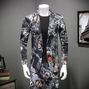 Gorilla Printed Casual Party Stylish Blazer-men-wanahavit-aspic-M-wanahavit