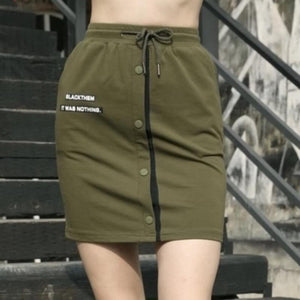 Cotton Slim Fit Army Green High Waist Skirt-women-wanahavit-Army Green-29-wanahavit
