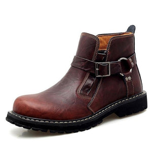 Designer Strapped Cow Genuine Leather Motorcycle Boots-men-wanahavit-Brown-12-wanahavit