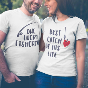 One Lucky Fisherman Best Catch of His Life Matching Couple Tees-unisex-wanahavit-N697-MSTWH-XL-wanahavit