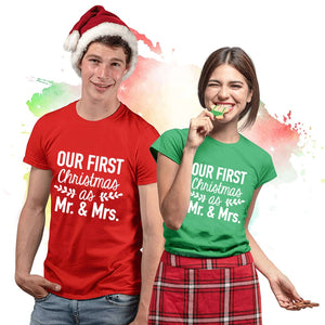 Our First Christmas as Mr & Mrs Matching Couple Tees-unisex-wanahavit-J266-MSTRD-XL-wanahavit