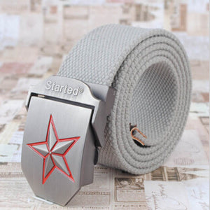 3D Red Star Buckle Strong Canvas Belt-men-wanahavit-Gray-wanahavit