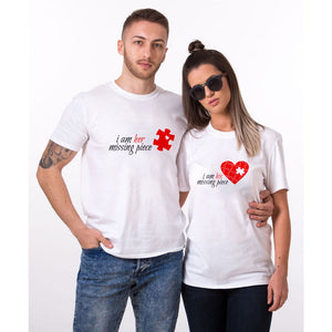 I Am Her Missing Piece & I Am His Missing Piece Matching Couple Tees-unisex-wanahavit-N752-MSTWH-S-wanahavit