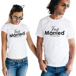Just Married 10 Years Ago Matching Couple Tees-unisex-wanahavit-FF54-FSTWH-S-wanahavit