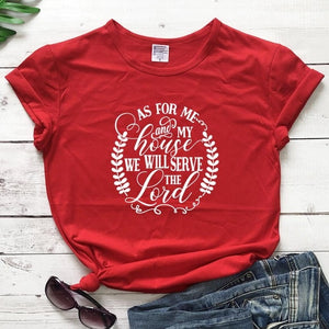 As For Me And My House We Will Serve The Lord Christian Statement Shirt-unisex-wanahavit-red tee white text-L-wanahavit