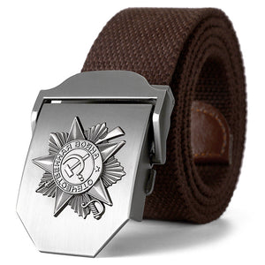 3D Great Soviet Patriotic War Memorial Canvas Belt-men-wanahavit-Coffee-110CM-wanahavit