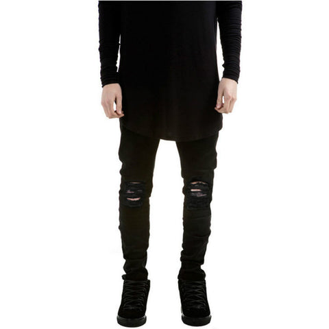 Distressed Ripped Slim Fit Pants-men-Black-28-wanahavit